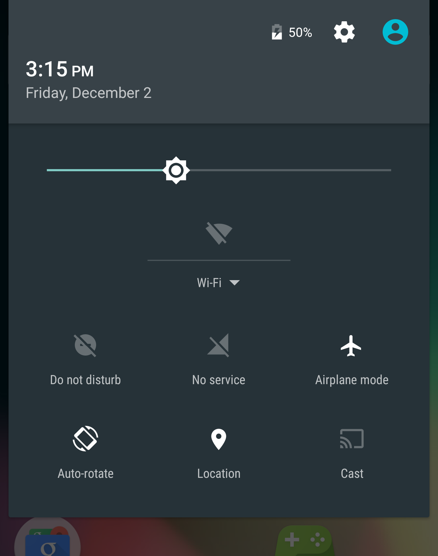 Shows Android airplane mode notification area.
