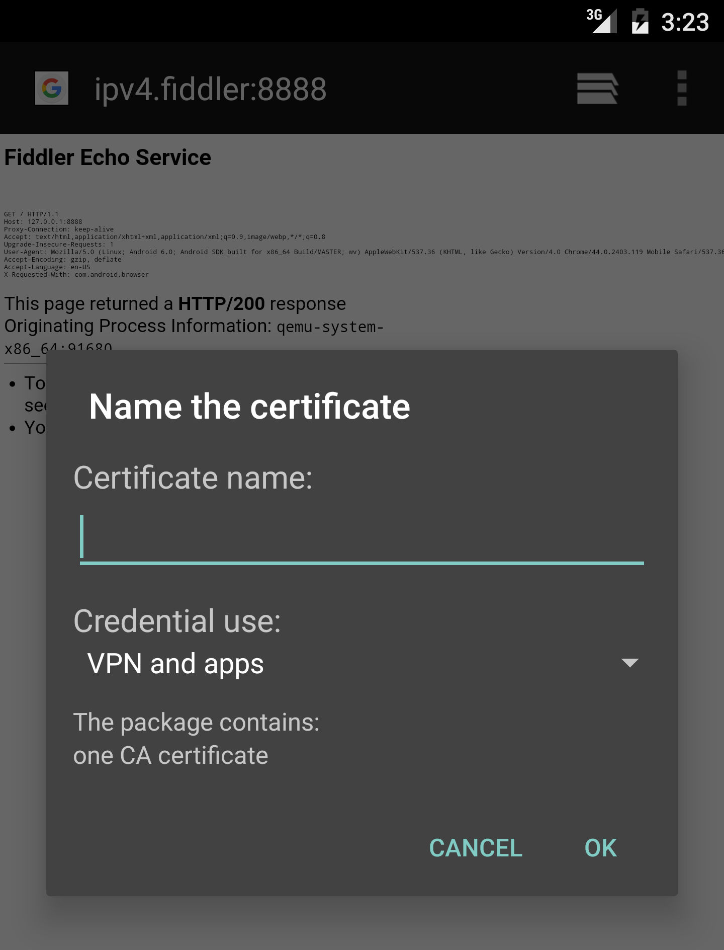 Shows Android certificate confirmation dialog.