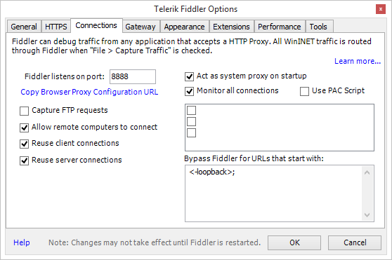 Image showing how to select the correct Fiddler Connections options.