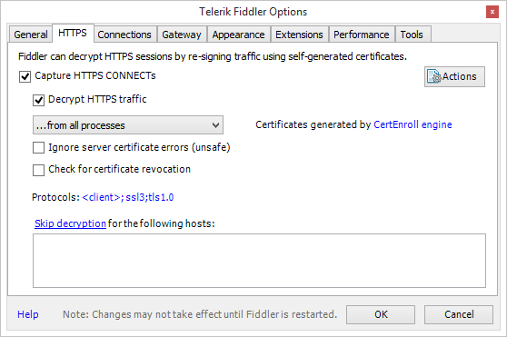 Image showing how to select the correct Fiddler HTTPS options.